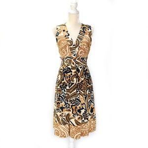 KAY UNGER Silk V-neck A-line Dress Navy Tan Print